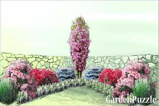 Projekt ogrodu murek narożny wiosna