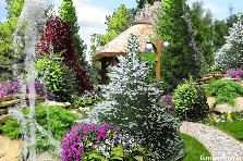 Projekt ogrodu:chatka wśród drzew