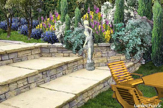 TARAS przy skarpie ze schodami - GardenPuzzle - projektowanie ogrodów w przeglądarce