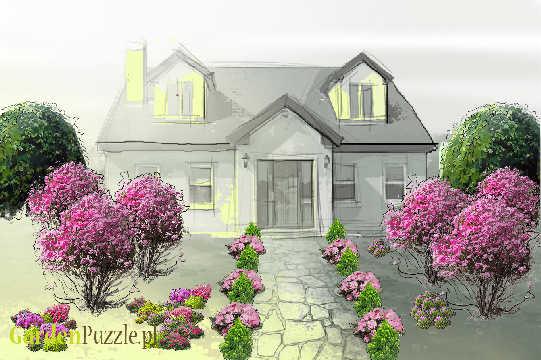 Projekt ogrodu:Front domu - Wiosna
