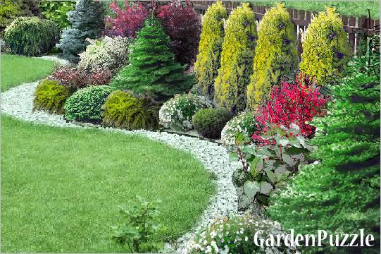 Projekt ogrodu:kolejna rabata pod płotem - Wiosna